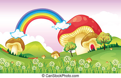 Mushrooms near the rainbow - Illustration of mushrooms near...
