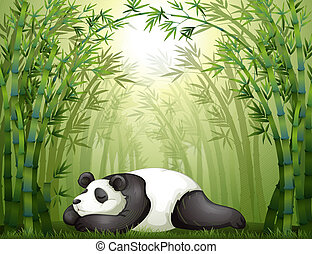 A panda sleeping between the bamboo trees - Illustration of...