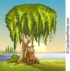 A bear under a big tree - Illustration of a bear under a big...