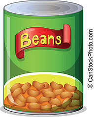 A can of beans - Illustration of a can of beans on a white...