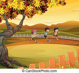 Three kids running along the field - Illustration of the...