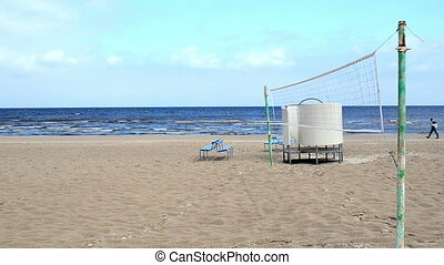 volleyball net man sea - seaside beach volleyball net blue...