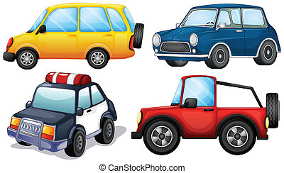 Different kinds and colors of cars - Illustration of the...