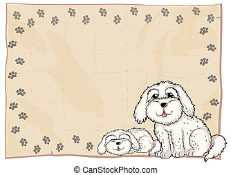 Two white dogs beside a frame