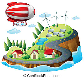 A village with an airship above - Illustration of a village...