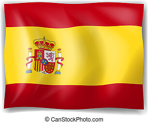 Flag of Spain - Illustration of the Flag of Spain on a white...