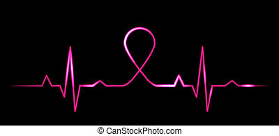 cardiogram with breast cancer symbo - Vector illustration of...