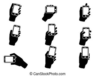 hand holding smartphone icons - isolated hand holding...