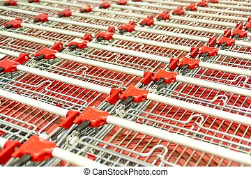 Shopping Carts - Stack Of Empty Shopping Carts