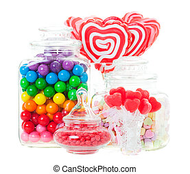 Candy Display - A display of various candies in glass...