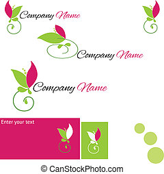 logo with stylized Flower - Set logo with stylized Flower...