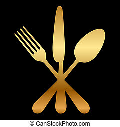 illustration of gold cutlery icon - Vector illustration of...