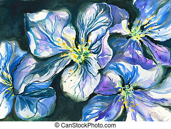 Blue flowers watercolor painted-nature background