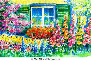 Garden - Flowering garden with window in background