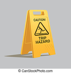 trip hazard warning sign - vector illustration of a trip...