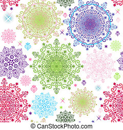 Seamless colorful pattern with lacy vivid circles and stars...