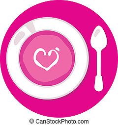 Pink Valentines love soup in circle isolated on white - Love...