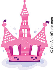 Pink princess sky Castle isolated on white - Beautiful fairy...