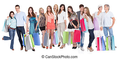 Large group of people with shopping bags. Isolated on white