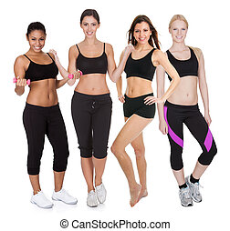 Group of fitness women Isolated on white