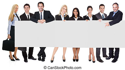 Group of business people presenting empty banner. Isolated...