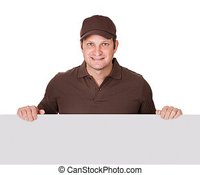 Postman presenting empty banner Isolated on white background...