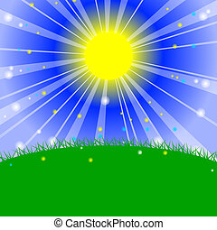 Morning in the meadow - Vector illustration - Morning in the...