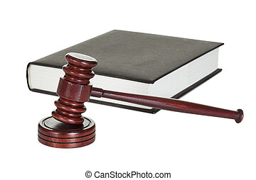 Judge gavel and law book Isolated on white