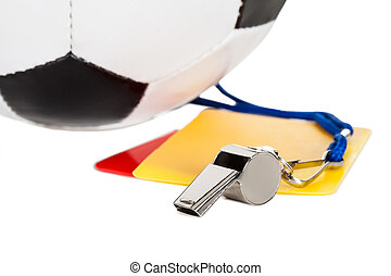 Soccer ball, whistle and cards Isolated on white