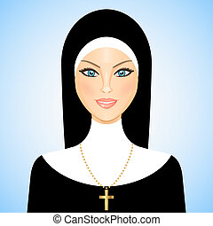 Vector illustration of nun