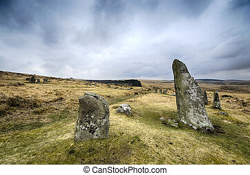 Scorehill Stone Circle on Dartmoor - Standing stones at...