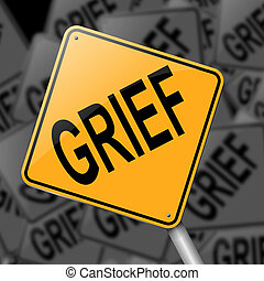 Grief concept. - Illustration depicting a sign with a grief...