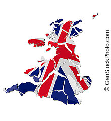 United Kingdom map cracked, conceptual representation of...