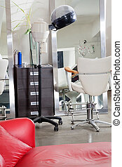Hair Salon With Steamer And Chair - Interior of hair salon...