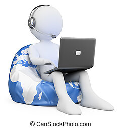 3D white people Internet browsing - 3d white person sitting...