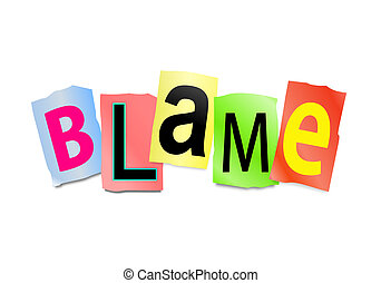 Blame concept. - Illustration depicting cutout printed...