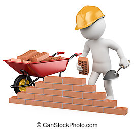 3D white people. Construction worker - 3d white worker...