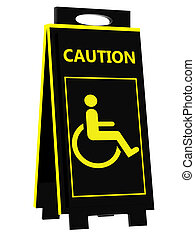 Disabled person warning sign on a white background
