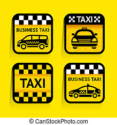 Taxi - set stickers square on the yellow background, vector...
