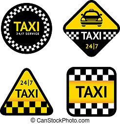 Taxi - set stickers, vector illustration isolated on a white...