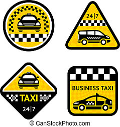 Taxi - set four stickers, vector illustration isolated on a...