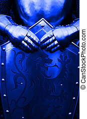 Knight - with blue color - Armour of the medieval knight-...