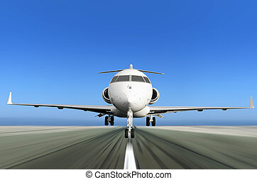 Private Jet Plane Taking off with Motion Blur - Front of...