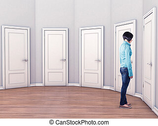 Girl before a doors - Girl before a white doors in fear of...