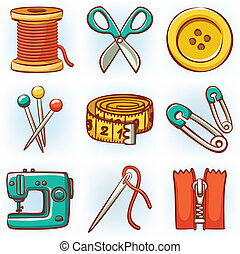 Set of 9 sewing tools icons
