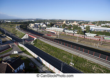Highly detailed aerial city view with crossroads, roads, railroads, factories, houses, parks, parking lots, bridges, Brno, Czech Republic