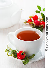 Fresh rose hip and drink a cup of rose hips