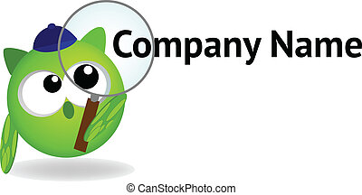Cartoon logo - Owl with magnifying glass