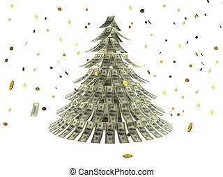 Christmas tree made by dollars with coin as snow - Christmas...