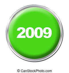Button To Start the New Year - a green button starting the...